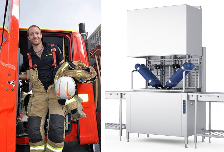 Metos PPE-varustepesukone. Kuvassa palomies ja pesukone Metos WD-12 PPE
