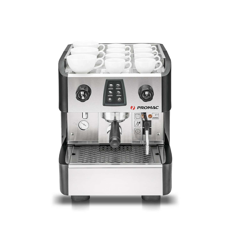 Espressokeitin Metos Glub ME 1GR. Mustat ulkokuoret. Yksi suodatinkahva ja yksi höyryhana.