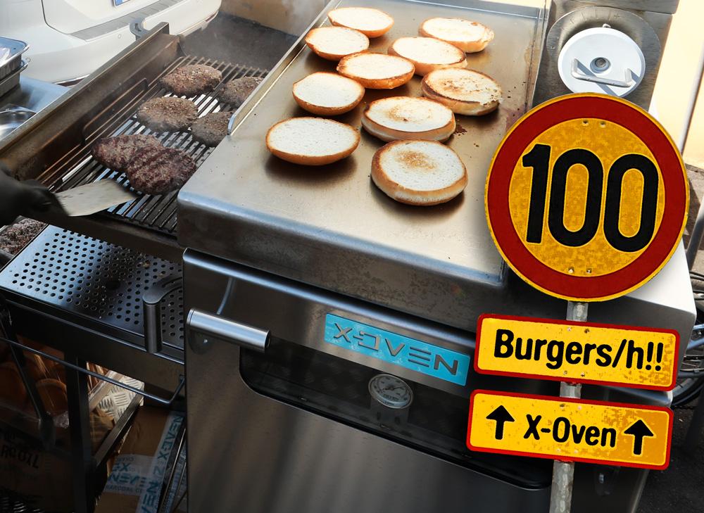 Metos Burger Machine. Pihvit ja sämpylät valmistumassa