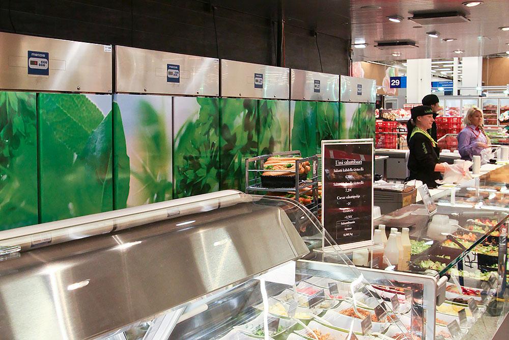 Metos jääkaapit rivissä palvelutuskin takana. Citymarket Jumbo, Vantaa