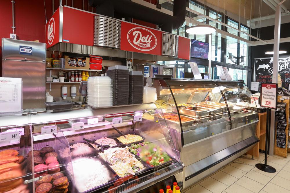 Wotkin's Delin kotilounas on tarjolla joka päivä klo 10.00 lähtien. Lisänä runsas valikoima grillituotteita ja salaatteja.