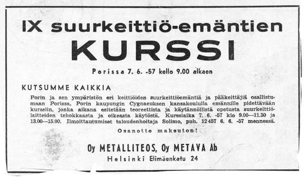 Kurssi-ilmoitus 1957